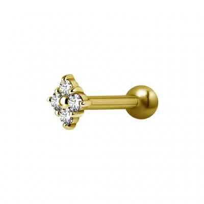 PRONG SQUARE GOLD PVD