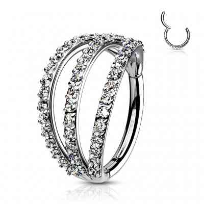 TRIPLE LAYER PAVED CZ RING S/S